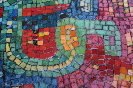 Mosaic on water fountain