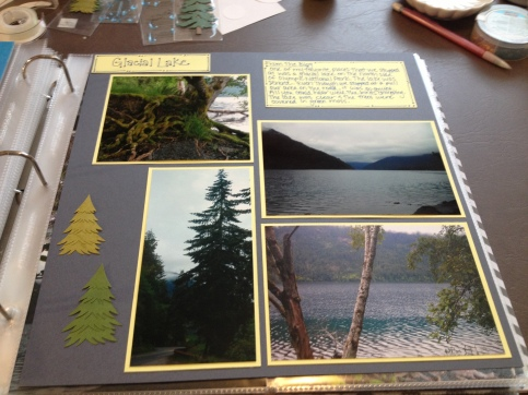 Olympic Peninsula. Chose to use a soft yellow to coordinate with all of the green and blue in the photos.