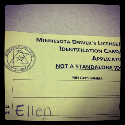 My yellow paper - temp license until the real one comes in the mail.