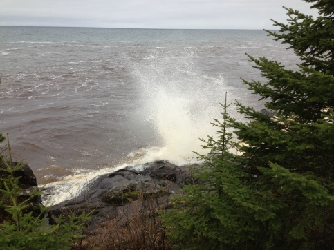 Huge wave crashing at Cascade River State Park