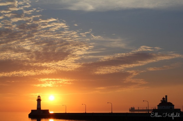 September sunrise over Lake Superior at Canal Park in Duluth