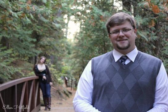 Aaron in focus on bridge