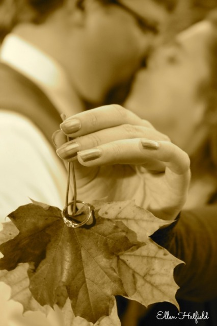Ring on Leaves Sepia